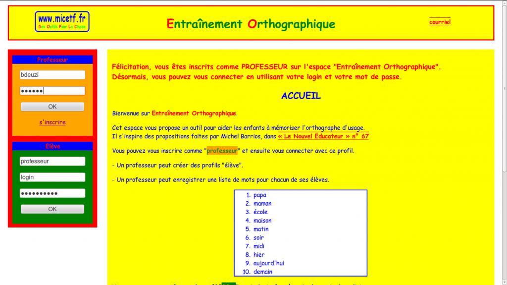 Saisir le login professeur et le mot de passe pour accéder à la partie administration de cette application web.