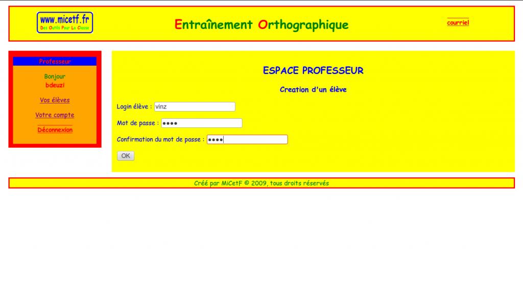 Choisir des identifiants pour l'élève (login/mot de passe) : Cliquer sur OK.